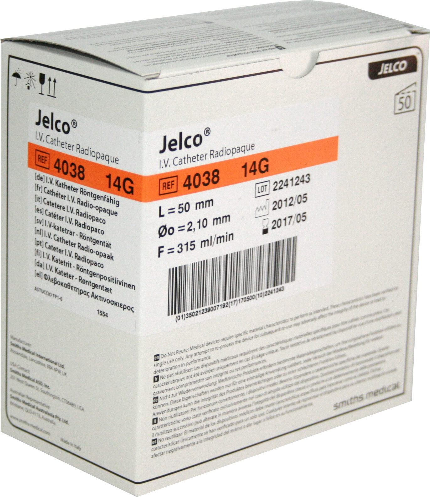 Catéter periférico Jelco de Smiths Medical 14G