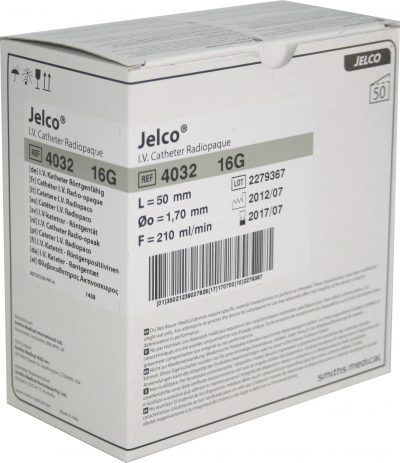 Catéter periférico Jelco de Smiths Medical 16G