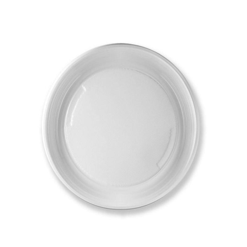 Plato de plástico blanco desechable
